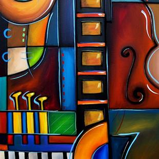 Art: Cubist 122 3040 W Original Cubist Art Cello Again by Artist Thomas C. Fedro