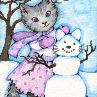 Art: Making a Snow Cat ACEO by Artist Carmen Medlin