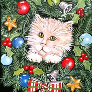 Art: peek a boo christmas kitten by Artist Rhonda Gilbert