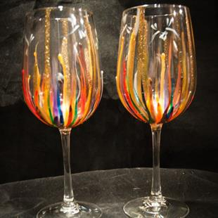 Art: 2012 Circus  Dragonfly wine glass set by Artist Rebecca M Ronesi-Gutierrez
