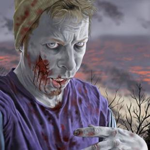 Art: Self Portrait As A Zombie by Artist Mark Satchwill