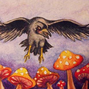 Art: Stark Raven Mushrooms ACEO by Artist Lindi Levison