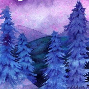 Art: Moonlit Forest by Artist Carmen Medlin