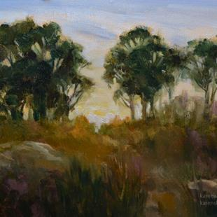 Art: Eucalyptus at Back Bay, Newport, Oil painting SOLD by Artist Karen Winters
