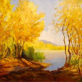 Art: Hansen Dam Willows - California landscape oil painting by Artist Karen Winters