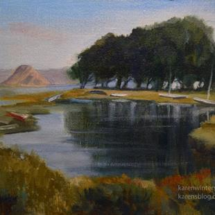 Art: Morro Bay High Tide - Los Osos - San Luis Obispo painting by Artist Karen Winters