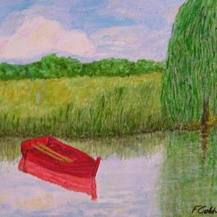 Art: Old Red Boat (Not for Sale) by Artist Fran Caldwell