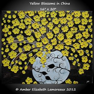 Art: Yellow Blossoms in China (sold) by Artist Amber Elizabeth Lamoreaux