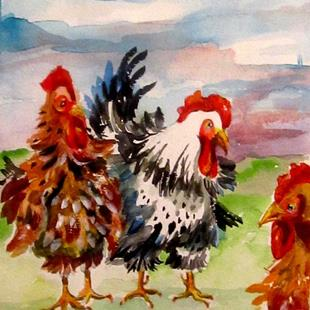 Art: Fat Chickens-sold by Artist Delilah Smith