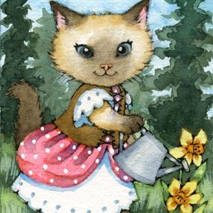 Art: Kitty's Forest Garden ACEO by Artist Carmen Medlin