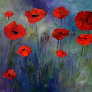 Art: Red Poppies Blue Fog by Artist Claire Bull