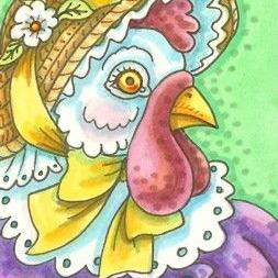 Art: HEN IN STRAW BONNET by Artist Susan Brack