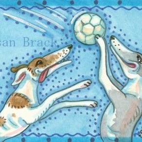 Art: VOLLEYBALL GREYHOUNDS by Artist Susan Brack