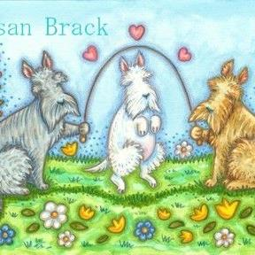Art: SCOTTIES LOVE JUMP ROPE by Artist Susan Brack