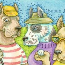 Art: GREAT DANES ON THE GREEN by Artist Susan Brack
