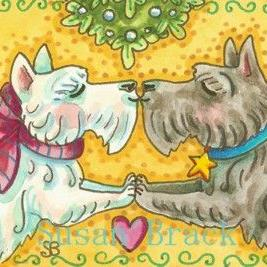 Art: UNDER THE MISTLETOE Scotties by Artist Susan Brack