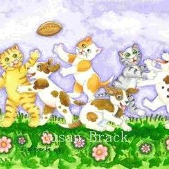 Art: PUPS VS KITTENS by Artist Susan Brack