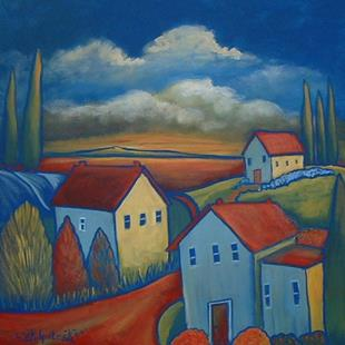 Art: Fauve Houses In Sunset by Artist Virginia Kilpatrick