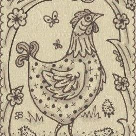 Art: SEPIA DOODLE CHICKEN SERIES #3 CHICKS by Artist Susan Brack