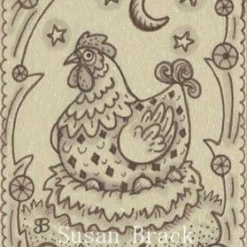 Art: SEPIA DOODLE CHICKEN SERIES #4 NEST by Artist Susan Brack