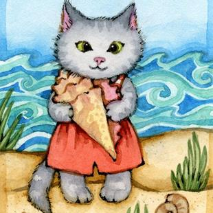 Art: On the Seashore II ACEO by Artist Carmen Medlin