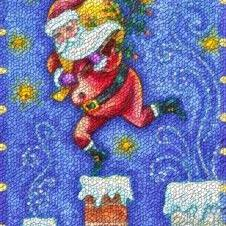 Art: CHIMNEY TOP SANTA Christmas Rug Needlpoint by Artist Susan Brack