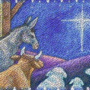 Art: PEACE ON EARTH Nativity Rug Tapestry Needlepoint Design by Artist Susan Brack