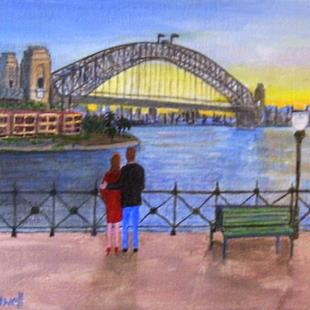 Art: Sydney Harbour Sunset (Not for Sale) by Artist Fran Caldwell