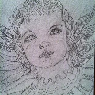 Art: Touched by An Angel (sketch) by Artist Nata ArtistaDonna