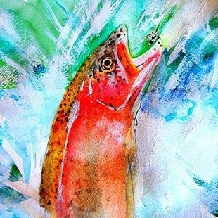Art: jumping trout by Artist Stephanie Amos