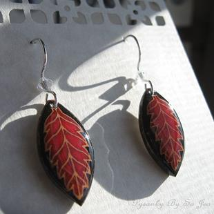 Art: Red On Black Leaf Earrings by Artist So Jeo LeBlond