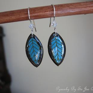 Art: Turquoise Leaf Earrings by Artist So Jeo LeBlond