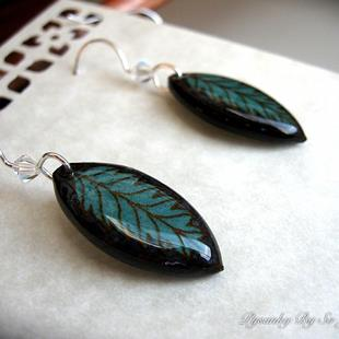 Art: Teal Leaf Earrings by Artist So Jeo LeBlond