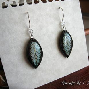 Art: Silvery Blue Leaf Earrings by Artist So Jeo LeBlond