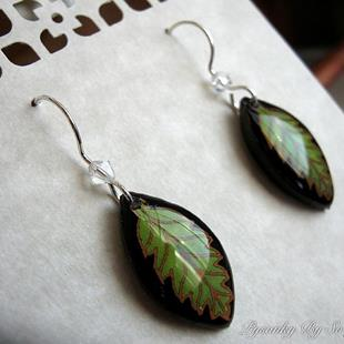 Art: Lime Green Leaf Earrings by Artist So Jeo LeBlond