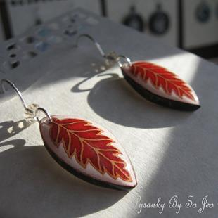 Art: Red Leaf Earrings by Artist So Jeo LeBlond
