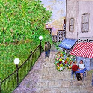 Art: Courtyard Cafe (Sold) by Artist Fran Caldwell