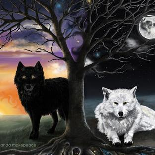 Art: Skoll and Hati by Artist Amanda Makepeace