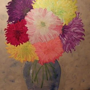 Art: Dinner Plate Dahlias...Not yet for sale by Artist Andrew Myles McDonnell (Andy Myles)