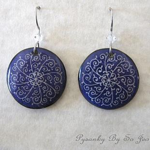 Art: Purple Filigree Pysanky Batik Eggshell Earrings by Artist So Jeo LeBlond