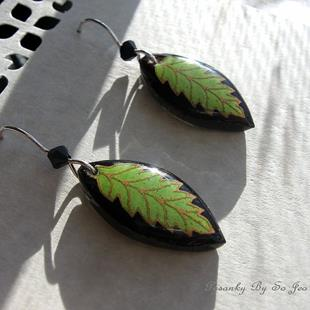 Art: Sublime Lime Pysanky Batik Eggshell Earrings by Artist So Jeo LeBlond