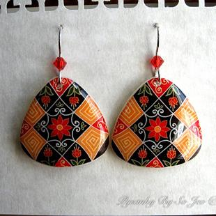 Art: Fall Florals Pysanky Batik Eggshell Earrings by Artist So Jeo LeBlond