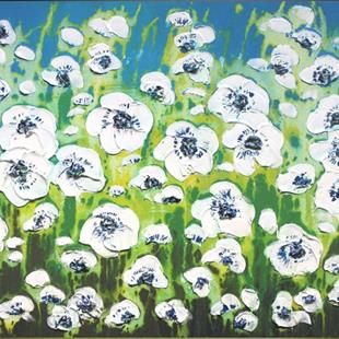Art: Field of White Flowers (s) by Artist Luba Lubin
