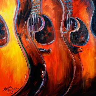 Art: READY to ROCK GUITAR ABSTRACT by Artist Marcia Baldwin