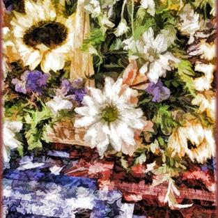 Art: Sunflower Basket by Artist Carolyn Schiffhouer