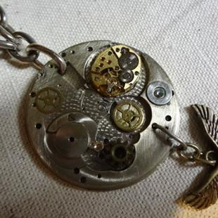 Art: EAGLE NECKLACE detail 1.JPG by Artist Vicky Helms