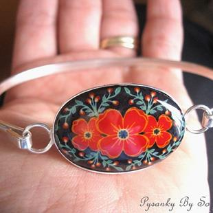 Art: Red Poppies Cuff Bracelet by Artist So Jeo LeBlond
