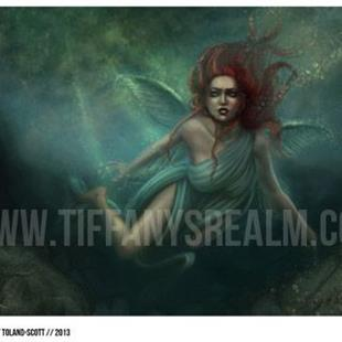 Art: Faeries of the Deep triptych by Artist Tiffany Toland-Scott