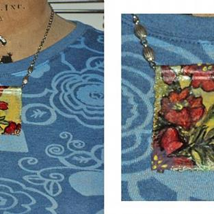 Art: Art Collage Necklace B1 by Artist studio524