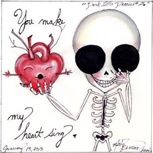 Art: Dark Little Dearies 26 - Skeleton Art Day of the Dead Valentine by Artist Misty Monster (Benson)